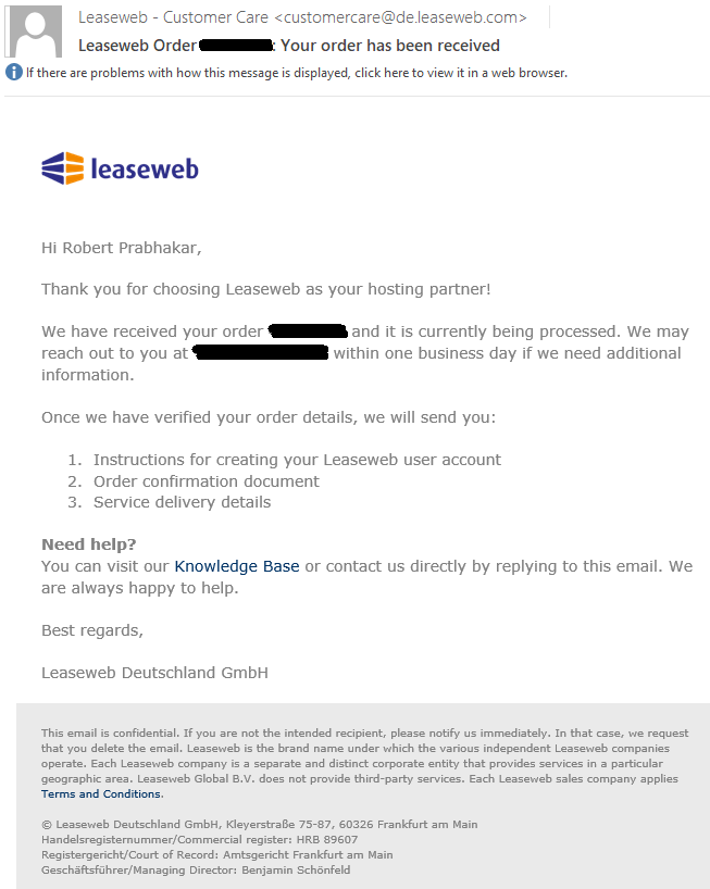 8abb91b995262 After ordering a service with Leaseweb - Onboarding - Knowledge Base
